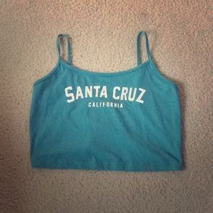 ROMWE turquoise Santa Cruz California Crop Top